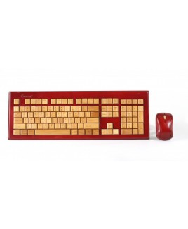 Wireless Hand-Carved Designer Bamboo Keyboard - Mahogany Color