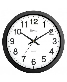14 Inch Sweep Movement Wall Clock, Black Frame
