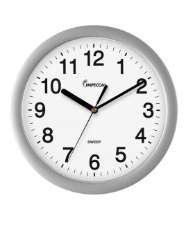 "10"" Wall Clock, Silent Metallic Silver"