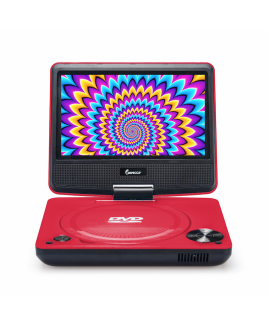 DVP-772 7in 270° Swivel Screen Portable DVD Player, Red